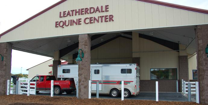 Truck and trailer at the leatherdale equine center